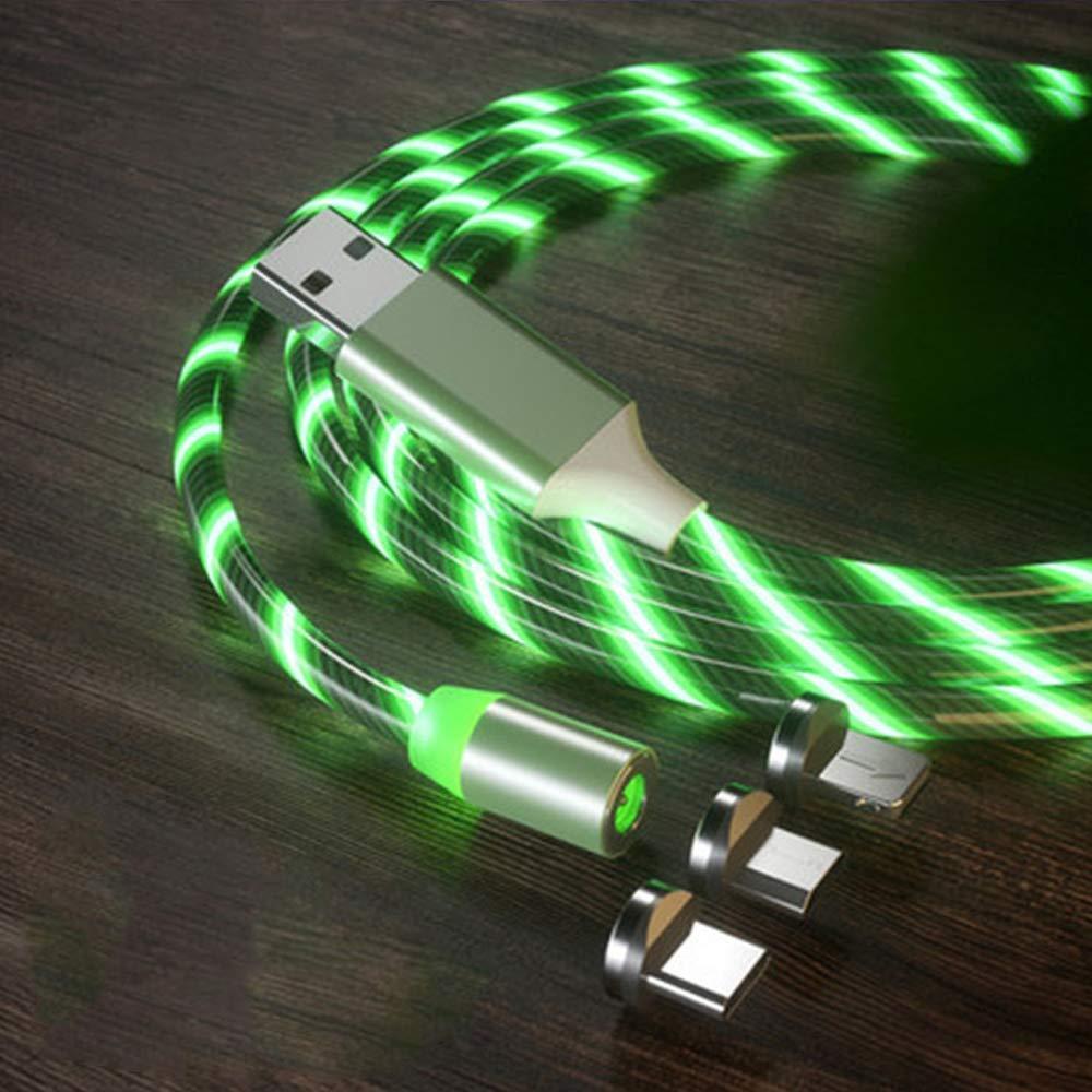 Магнитный светящийся кабель синхронизации Luminous для IOS Android Type-C 1 3 в 1 Зеленый
