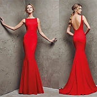 Платье вечернее длинное , с открытой спиной , ткань креп-дайвинг , длина 165 см, цвет красный АА № 4456