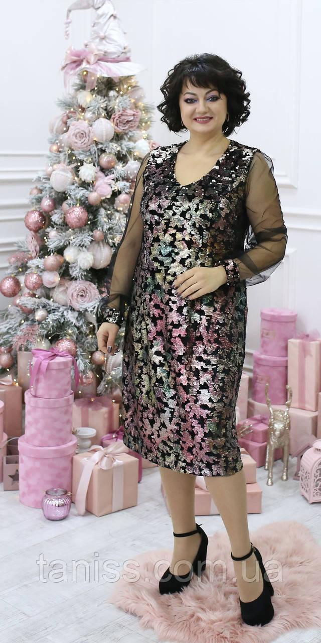 Жіноче ошатне плаття , тканина оксамит і євро сітка,розміри 50,52,54,56 (2090) ,сукня