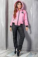 Теплый женский костюм Филипп черный с розовым, фото 1
