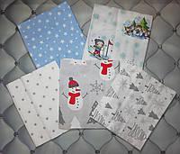 Набор пеленок для новорожденных Зимушка зима,2 пеленки байка + 3 пеленки хлопок, польский хлопок
