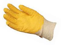 Перчатки с латексным покрытием, цвет желтый