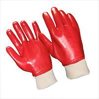 Перчатки с покрытием ПВХ, красные, маслобензостойкие, трикотажный манжет
