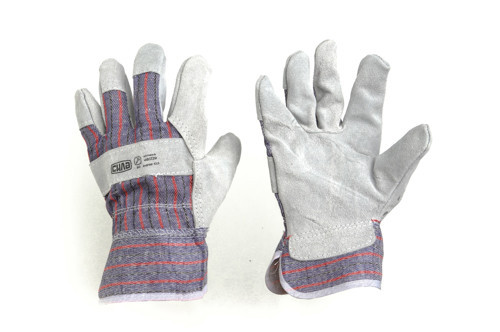 Перчатки комбинированные, замша + ткань, манжета крага, р.10,5