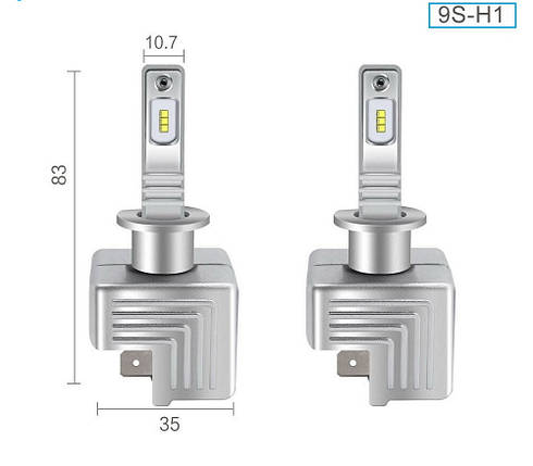 Светодиодная лампа цоколь H1, 9S, 6000К, 8500 lm 40W, 9-36В, фото 2