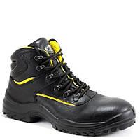 Ботинки рабочие кожаные, класс защиты S3, CI SRC, черный-желтый
