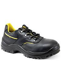 Полуботинки рабочие кожаные, класс защиты S3, CI SRC, черный-желтый