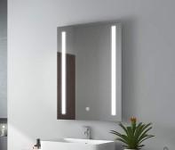 Дзеркало у ванну кімнату з підсвічуванням 80х65 DE-M1041 Dusel з годинником