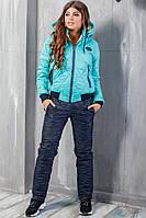 Теплый женский костюм Филипп синий с голубым, фото 1