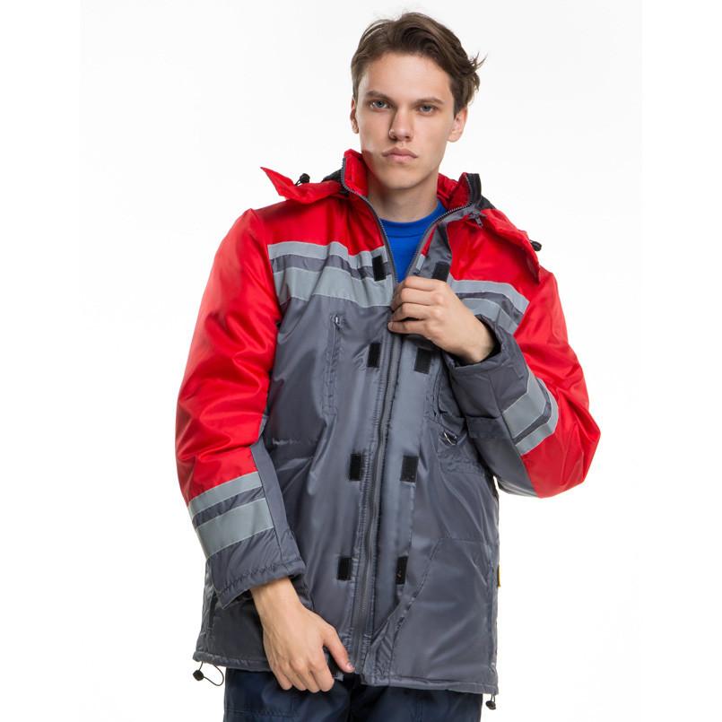 Куртка утепленная тк.оксфорд, серый-красный