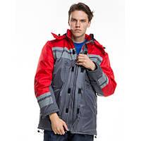 Куртка утепленная тк.оксфорд, серый-красный, фото 1
