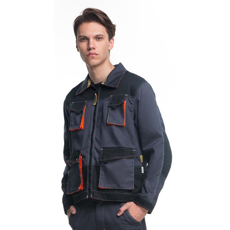 Куртка рабочая, полиэстер + хлопок, серо-черный