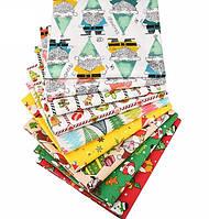 Новогодний набор отрезов ткани для рукоделия с различными орнаментами - 9 отрезов 40*50 см