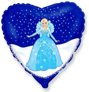 """Фольгована кулька серце Принцеса Ельза 18"""" Flexmetal"""
