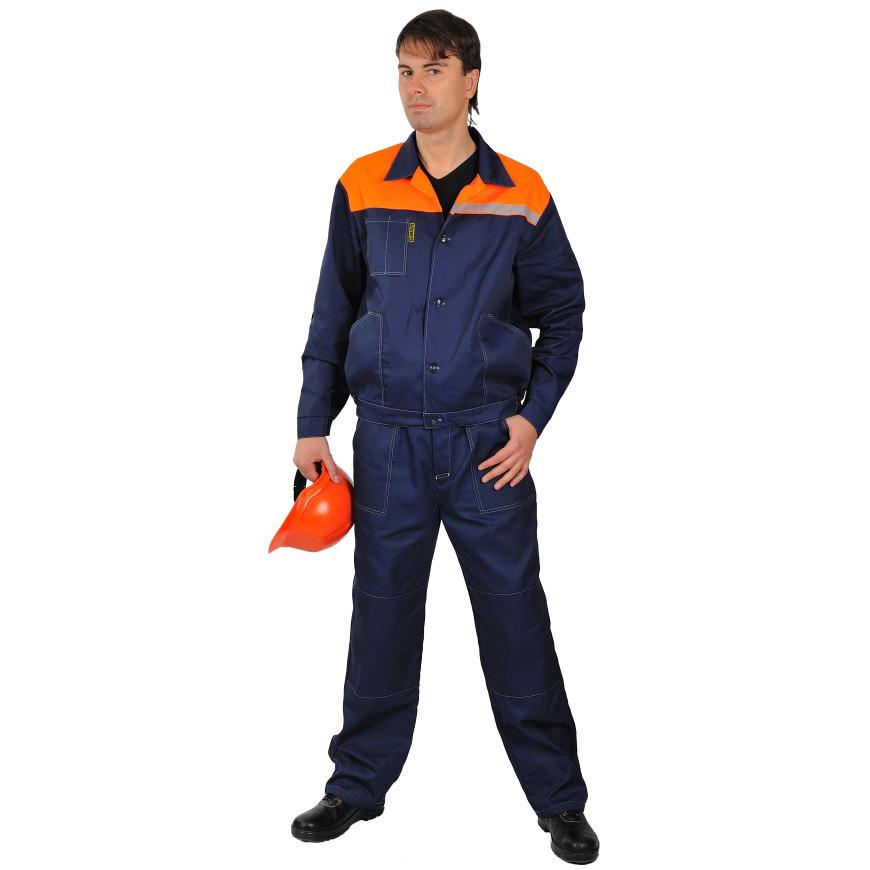 Костюм рабочий летний с брюками, тк.Саржа, темно-синий