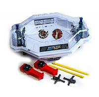Игровой набор арена Бейблейд Белая Beyblade с ловушками роботами 2 волчка с пускателями Attack Battle Set