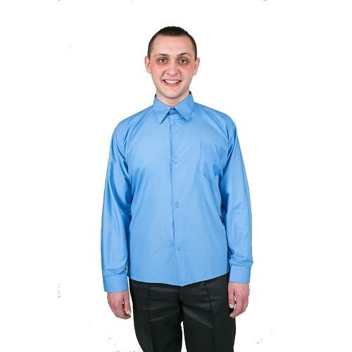 Рубашка голубая с длинным рукавом