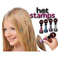 Набор аксессуаров Hot stamps для волос наклейки и штампы на волосы Тату печать для девочек
