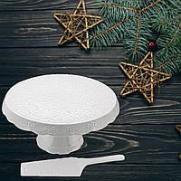 Блюдо для торта лопаткою, порцелянове кругле, біле Lefard, розмір 27 см
