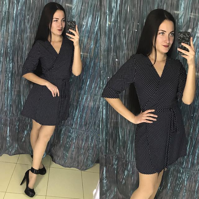 женское платье на запах в горошек 46 размера