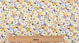 Набор отрезов сатина с рисунком для рукоделия нежного желтого цвета  - 8 отрезов 40*50 см, фото 7