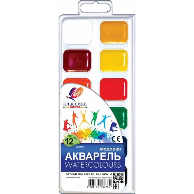 Фарби акварельні медові Промінь 12 цв. Класика б/к (110212)