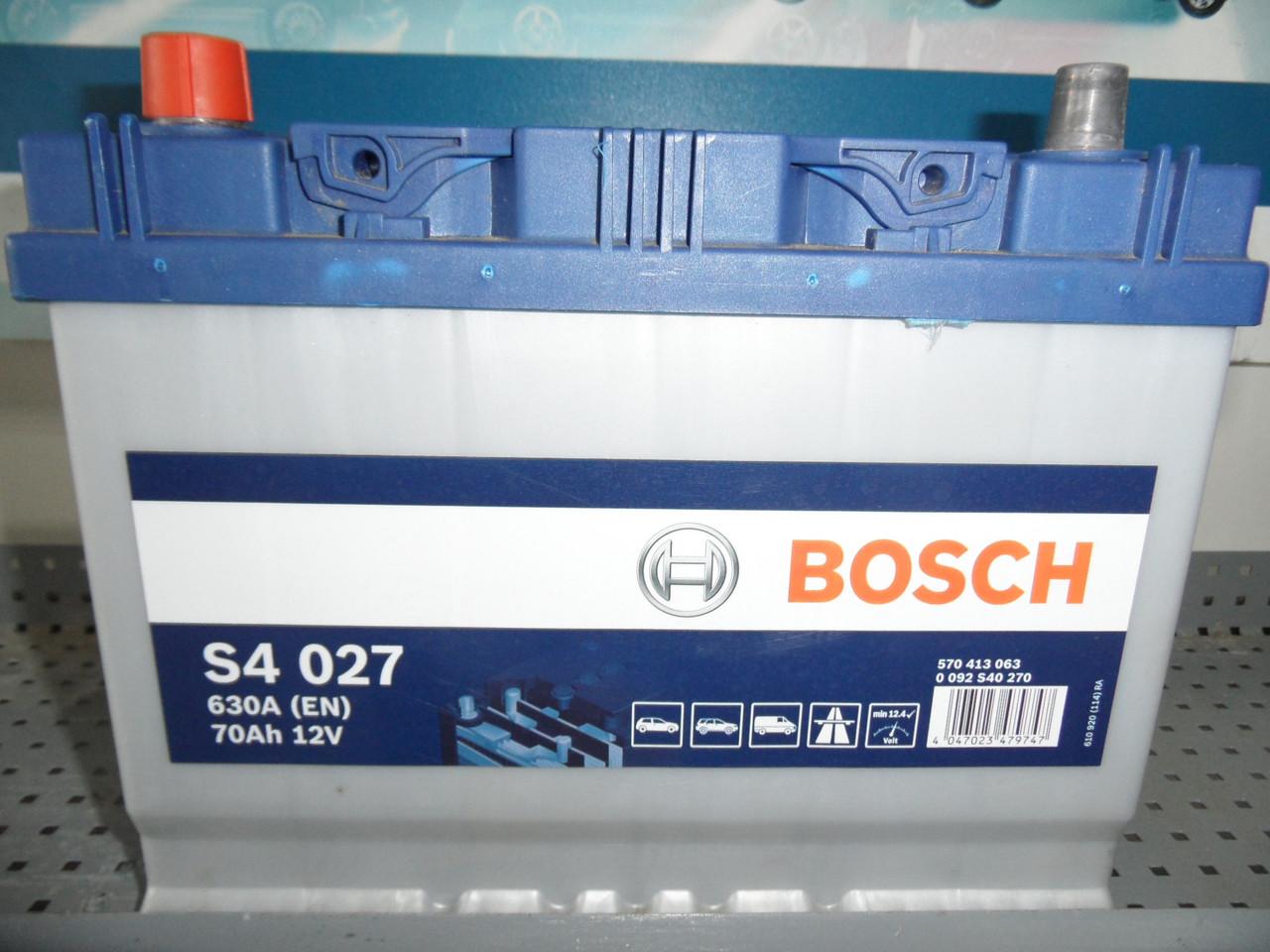Автомобільний акумулятор BOSCH 0092S40270, 12V, S4 027 Silver 70 Ач, 261х175х220, 630А, Asia,АКБ