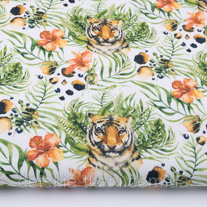 """Ткань бязь """"Тигры и тропические цветы"""" на белом фоне, №3165а"""