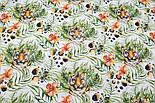 """Тканина бязь """"Тигри і тропічні квіти"""" на білому фоні, №3165а, фото 4"""