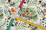 """Ткань бязь """"Тигры и тропические цветы"""" на белом фоне, №3165а, фото 5"""