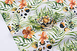 """Ткань бязь """"Тигры и тропические цветы"""" на белом фоне, №3165а, фото 6"""