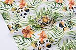 """Тканина бязь """"Тигри і тропічні квіти"""" на білому фоні, №3165а, фото 6"""