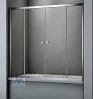 Шторы на ванну стеклянные раздвижные Ko&Po140х140 матовое закаленное стекло серый профиль четыре секции