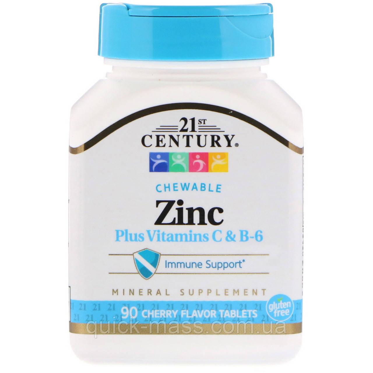 Цинк c витамином С в жевательных таблетках, Zinc Chewable, 21st Century, вишня, 90 таб.