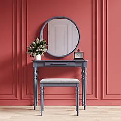 """Туалетный столик с зеркалом и банкеткой """"Ренессанс Серый"""""""