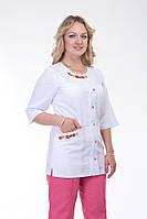 Женский медицинский  костюм с вышивкой розовый  норма, батал   батист