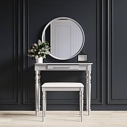 """Туалетный столик с зеркалом и банкеткой """"Ренессанс Светло-серый"""""""