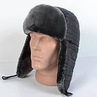 Мужская шапка-ушанка из плащевки - NIKE - Искусвенный мех Мутона (код 29-300)