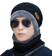 Шапка + хомут (баф) в ПОДАРОК унисекс, женская, мужская, набор, шарф черная