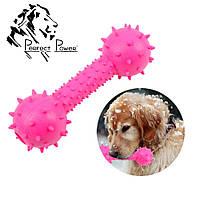 Резиновая гантелька массажер для десен 14 см Игрушка для собак шипованная гантель для чистки зубов Розовая