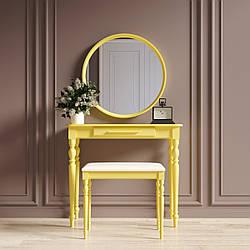 """Туалетный столик с зеркалом и банкеткой """"Ренессанс Жёлтый"""""""