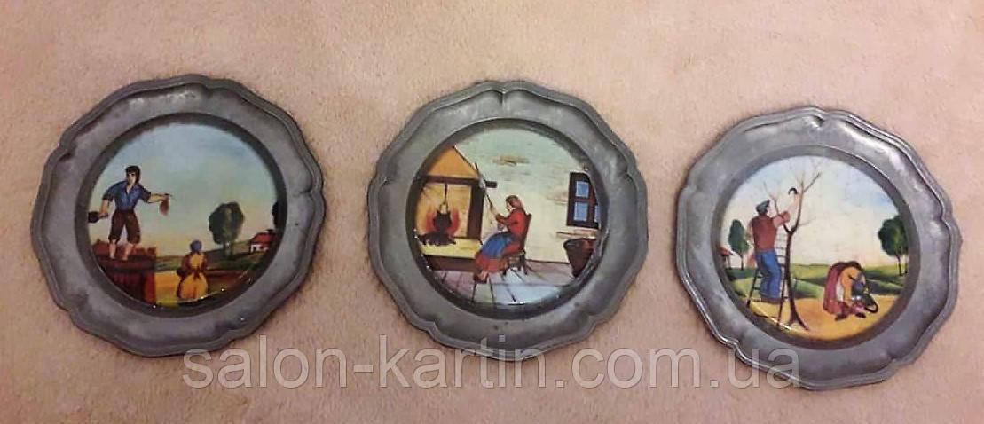 """Оловянные декоративные тарелки с порцеляной: триптих """"Хозяева"""""""