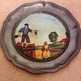 """Оловянные декоративные тарелки с порцеляной: триптих """"Хозяева"""", фото 3"""
