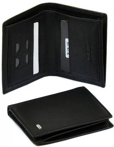 Надежный мужской кошелек из качественной кожи без застежки dr.Bond MS-6 black (черный)