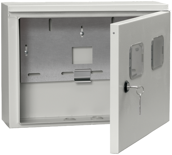 Корпус металлический вводно-учетный под однофазный счетчик и 2 модуля ЩУ 1/2-0 У1 IP54 IEK