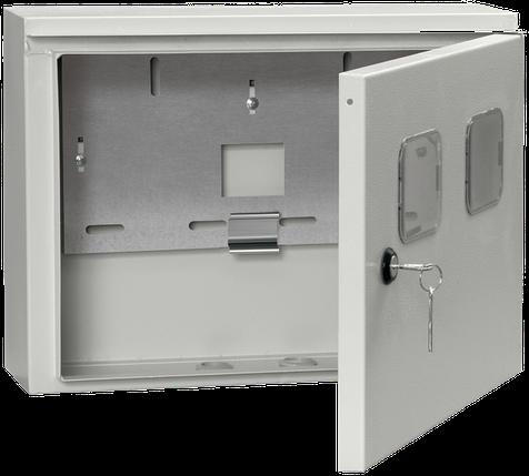 Корпус металлический вводно-учетный под однофазный счетчик и 2 модуля ЩУ 1/2-0 У1 IP54 IEK, фото 2