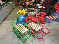 """Детские санки """"Королевские"""" с разворотной спинкой, зеленые"""