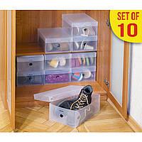 Набір пластикових коробок для зберігання чоловічого, жіночого та дитячого взуття Tatkraft Glasgow 16118
