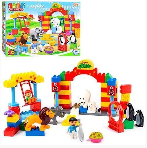 Дитячий конструктор зоопарк 72 деталі для дітей JDLT Блоковий конструктор тварини