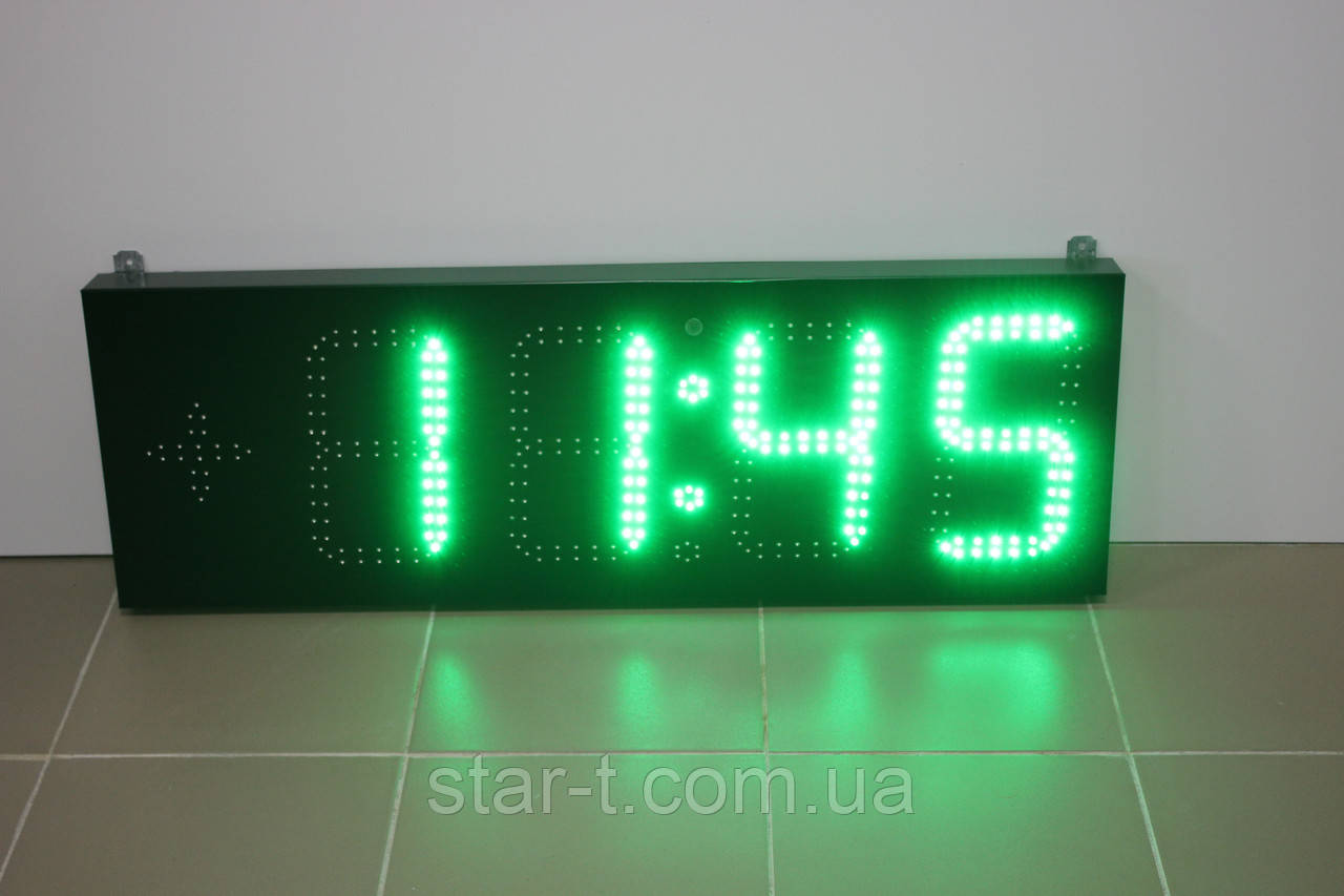 Яркие зеленые часы-календарь-термометр 900х300мм Супер яркие!